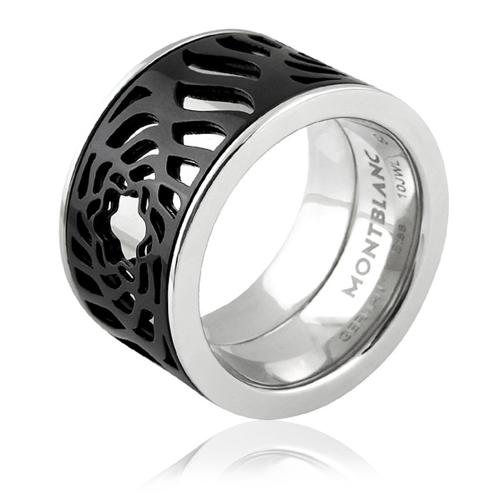 MONT BLANC 萬寶龍 黑色鏤空LOGO圖樣寬版戒指-50號