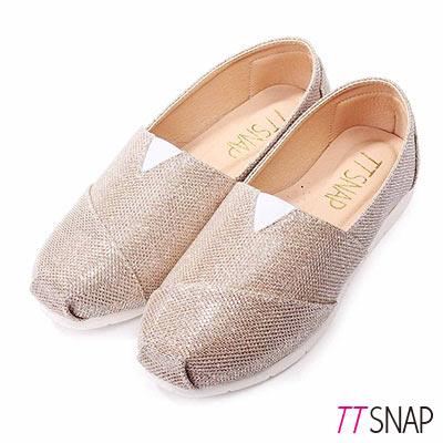 TTSNAP樂福鞋-MIT星星閃耀亮片真皮平底休閒鞋 金
