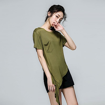 SUITANGTANG 側邊衣襬剪接上衣-軍綠