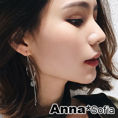 AnnaSofia 空圈黑圓貝 不對稱大型耳針耳環(銀系)