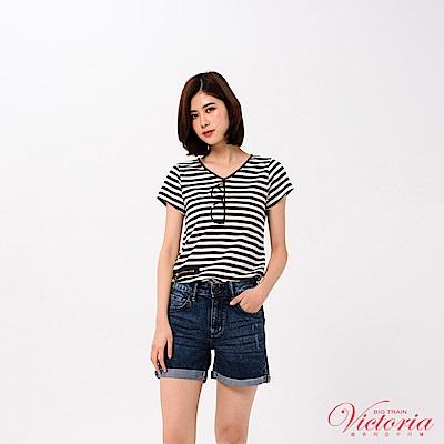 Victoria 裝飾拉鍊鏡框亮片繡短袖T-女-黑色