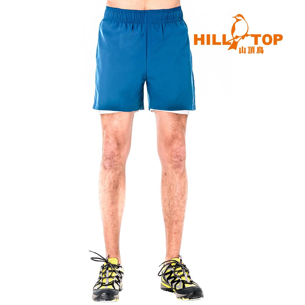 【hilltop山頂鳥】男款抗UV超潑水短褲S09M68-海神藍