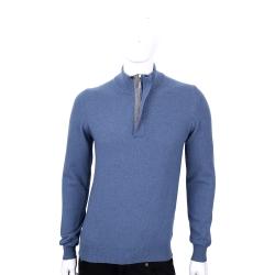 FRADI 藍灰色半拉鍊設計羊毛長袖上衣