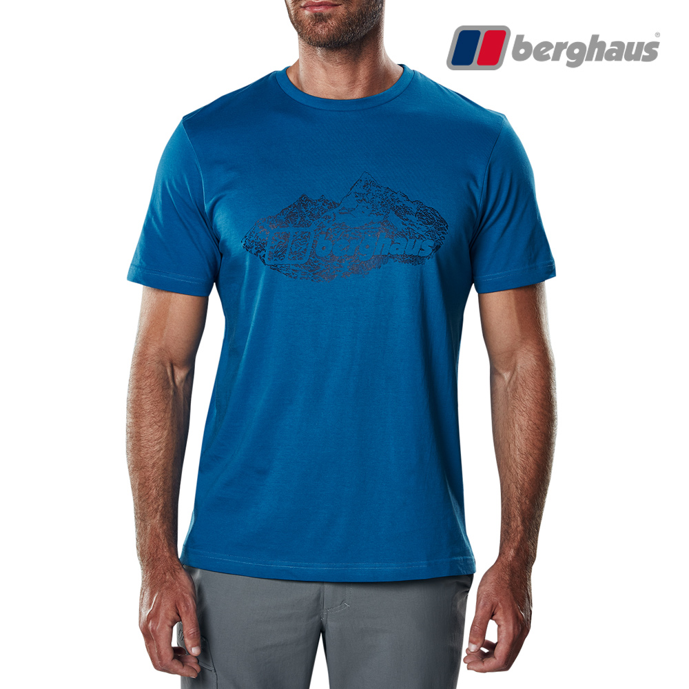 【Berghaus貝豪斯】男款山峰印花圓領T恤S04M14-藍