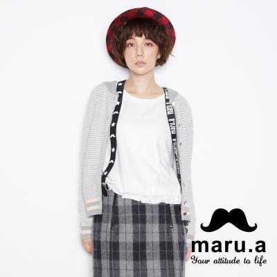 maru-a麻洛野-背後LOGO針織羅紋外套