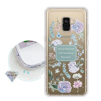 浪漫彩繪 Samsung Galaxy A8 (2018) 水鑽空壓氣墊手機殼(...