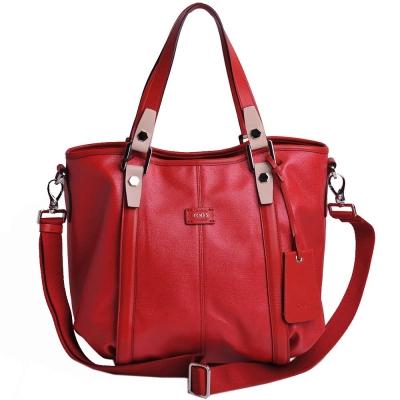 TOD'S New G-Bag 珍珠光面帆布肩背/斜背包(中/紅)