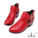 iki2 浪漫搖滾-真皮時尚金屬扣環短靴-紅 product thumbnail 1