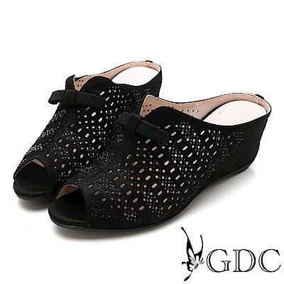 GDC-低調典雅蝴蝶結魚口楔型低跟拖鞋-黑色