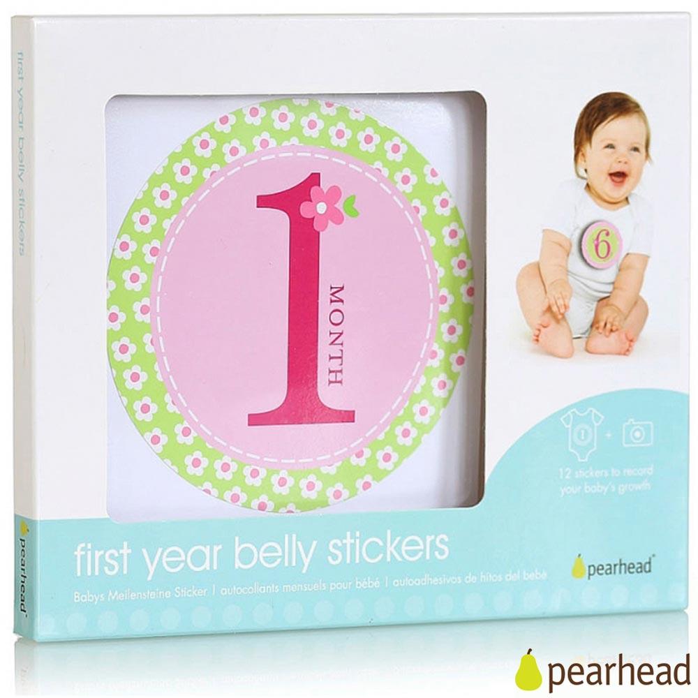 Pearhead 粉綠花朵女孩新生兒成長月份貼紙