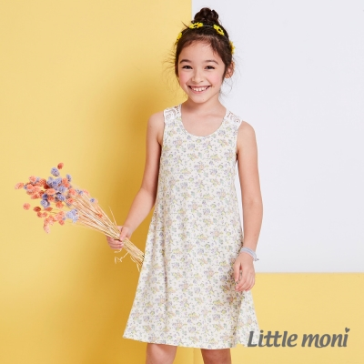 Little moni 涼夏蕾絲女孩拚接洋裝 淺米色