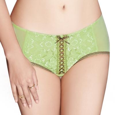 思薇爾 花神祭系列M-XL蕾絲中低腰平口內褲(芥草綠)