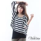 Victoria 假兩件寬鬆條紋雪紡T-女-黑