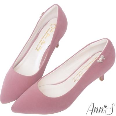 Ann'S完美氣質-小蝴蝶結鑽扣尖頭低跟鞋-粉