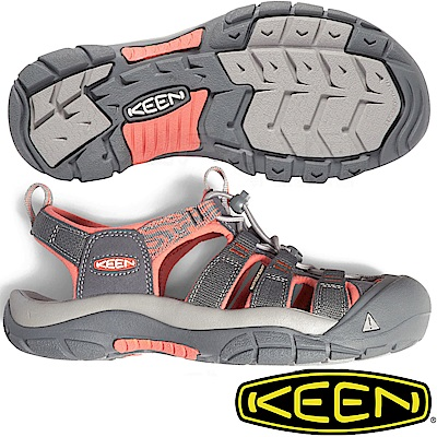 KEEN 1018947灰 粉橘 Newport Hydro 女戶外護趾涼鞋