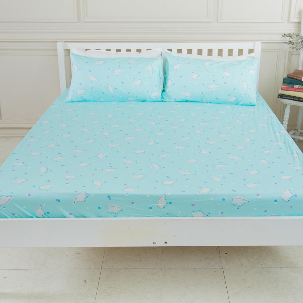 米夢家居-台灣製造-100%精梳純棉雙人加大6尺床包三件組-北極熊藍綠