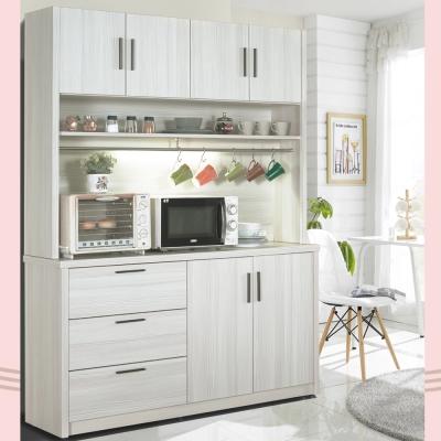 凱曼 米可 5 尺雪山白餐櫃收納櫃(上座+下座)