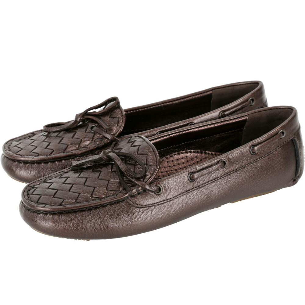 BOTTEGA VENETA 漆亮皮編織綁帶莫卡辛鞋(咖啡金)