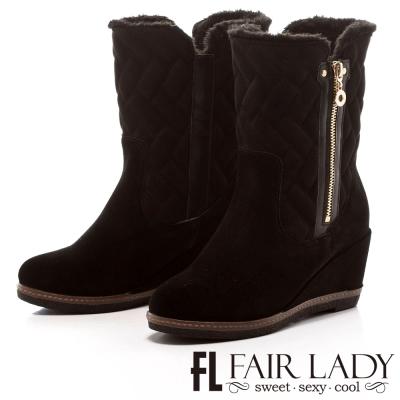 Fair Lady 菱格鋪毛拉鍊2way楔型靴 黑