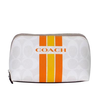 COACH灰白C-Logo芋邊橘黃條紋梯型化妝包