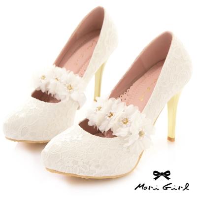 Mori girl可拆花朵鞋束帶2way蕾絲金跟高跟鞋 白