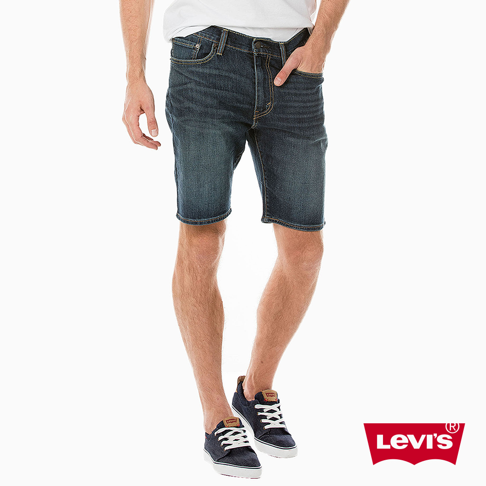 Levis 男款 牛仔短褲 505 中腰標準直筒 深藍水洗
