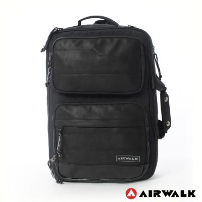 AIRWALK-風采絲紋筆電公事手提-後背包-深灰黑