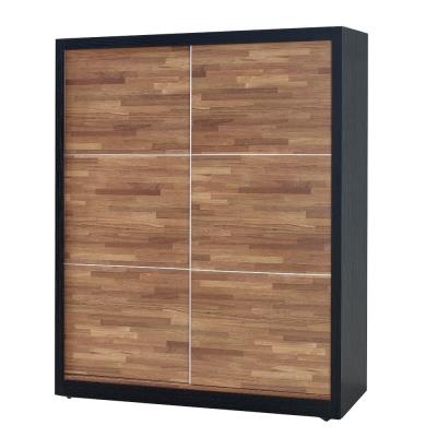 品家居 可菲5尺木紋雙色推門衣櫃-151.5x60x195cm-免組