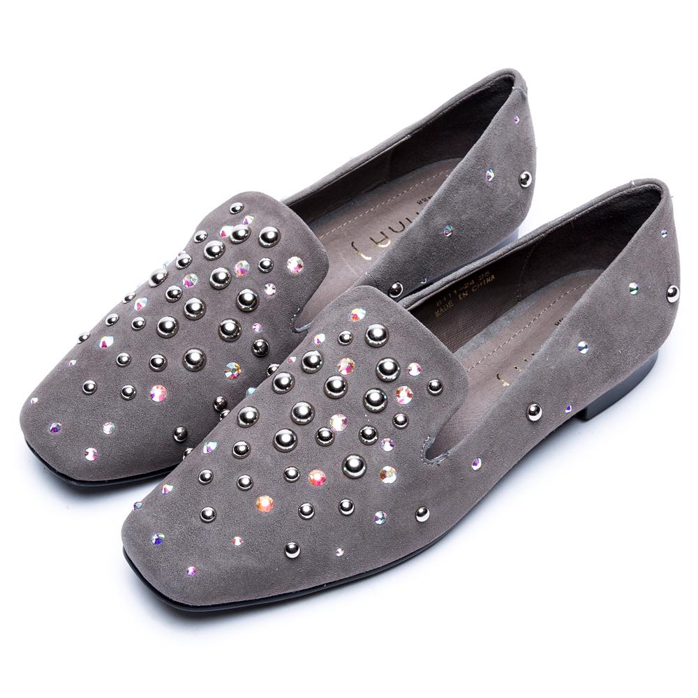 DIANA摩登時尚--方頭立體铆釘點綴水鑽真皮休閒鞋-灰