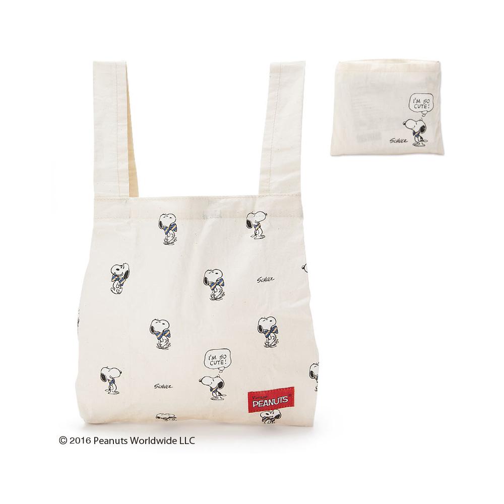 Sanrio SNOOPY大人紳士系列棉布材質可折疊環保購物袋M