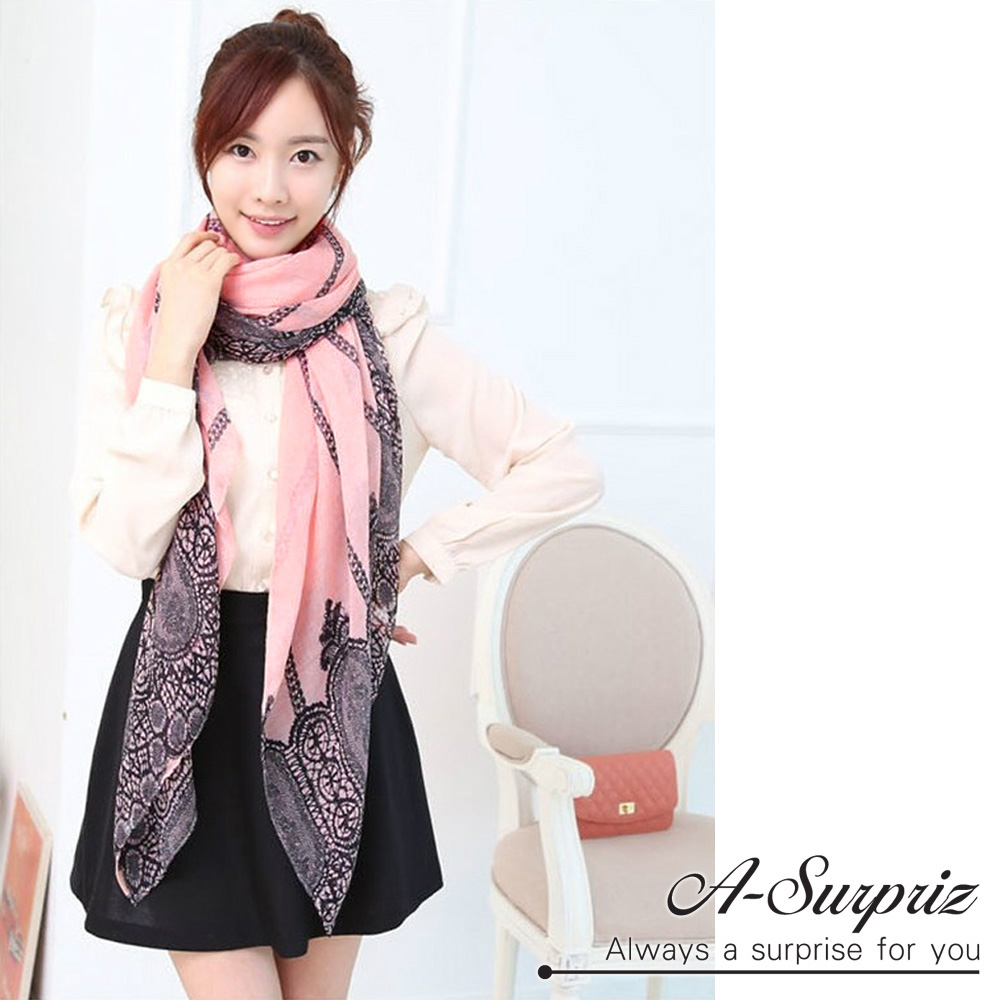 A-Surpriz 氣質柔美花紋巴黎紗圍巾(浪漫粉)