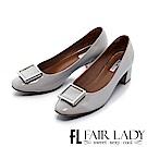 Fair Lady 優雅小姐Miss Elegant 金屬裝飾方頭粗跟鞋 鏡面灰