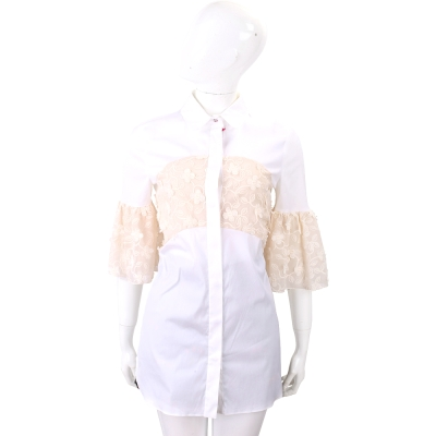 Max Mara-SHINE 白色蕾絲拼接長版襯衫