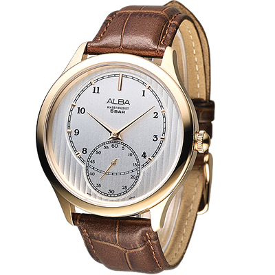ALBA 時代之眼經典小秒針腕錶(AN4034X1)-銀白x咖啡色錶帶/43mm