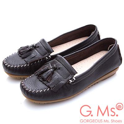 G.Ms. MIT系列-極好穿軟Q牛皮流蘇莫卡辛鞋-深咖啡