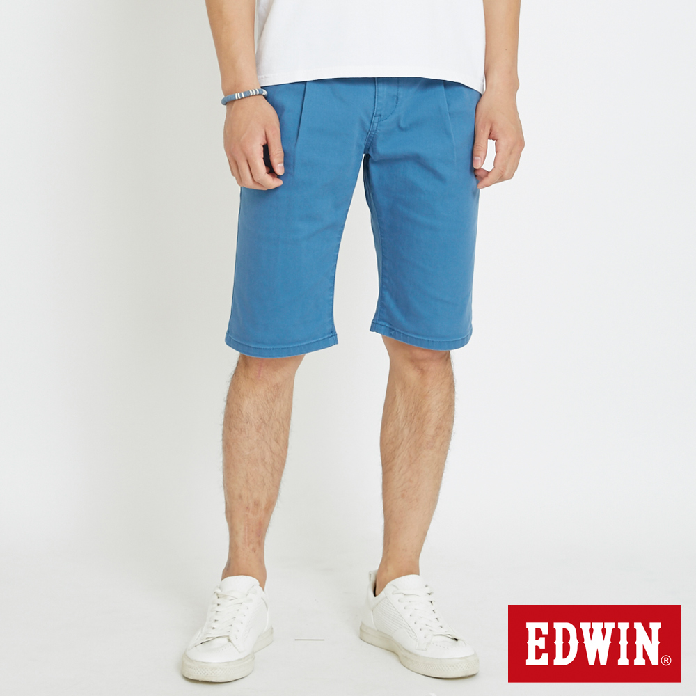 EDWIN 休閒打摺短褲-男-藍色