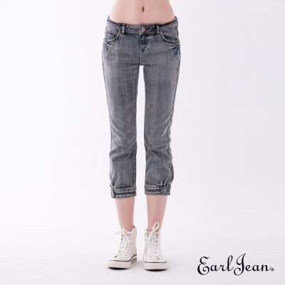 Earl Jean 褲口鈕扣設計中腰緊身七分褲-中藍-女