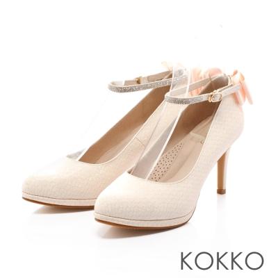 KOKKO-高級訂製優雅蝴蝶結踝帶高跟鞋-淡粉金