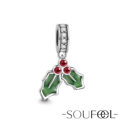 SOUFEEL索菲爾 925純銀珠飾 冬青樹葉 吊飾