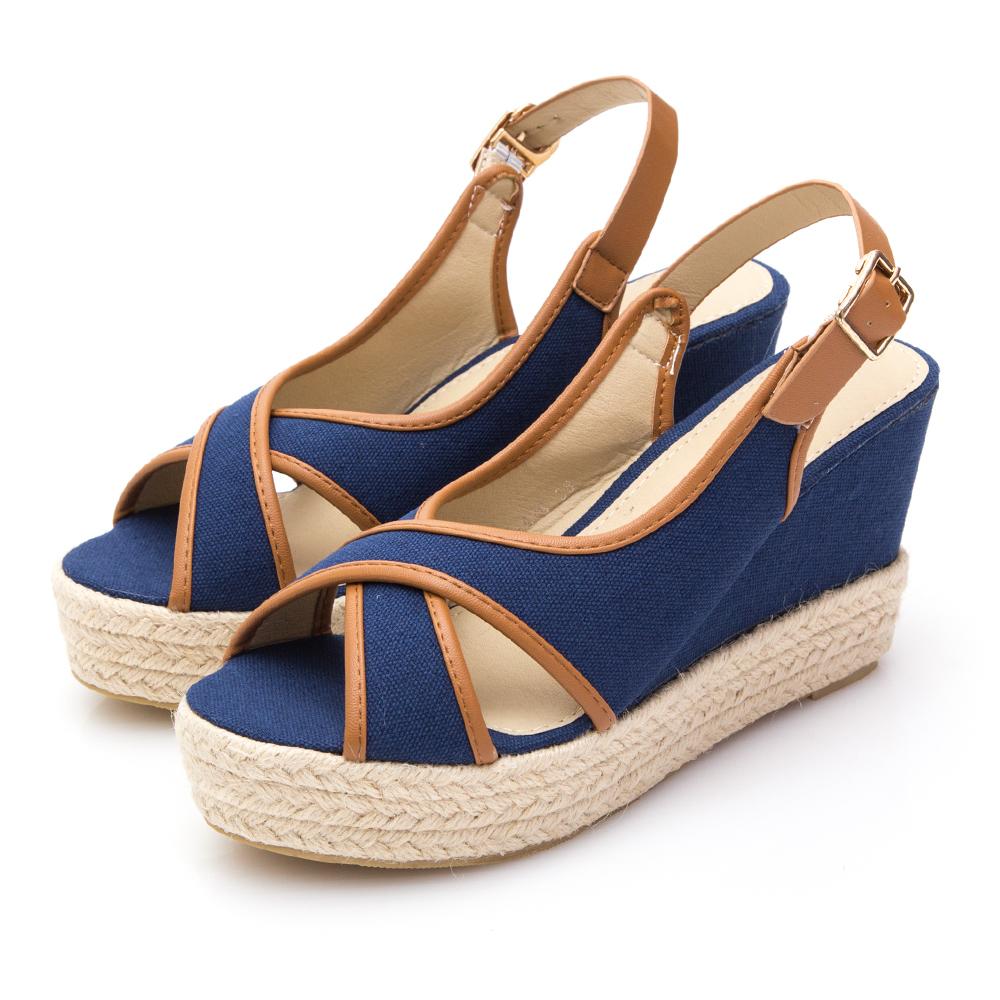 JMS-豔夏休閒交叉厚底麻編楔型涼鞋-藍色