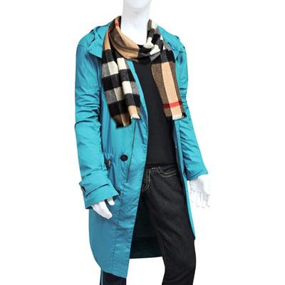 BURBERRY 湖水藍紳士長版風衣外套-L號