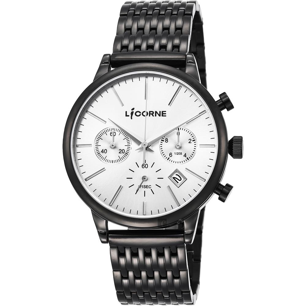 LICORNE力抗 撼動時尚三眼計時手錶-銀x黑/43mm LI097MBWI