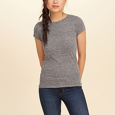 HCO Hollister 經典標誌設計短袖素色T恤(女)-灰色