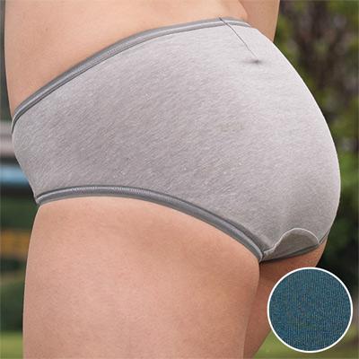 華歌爾-健康黑竹炭M-LL中腰高裾三角褲(松藍綠)