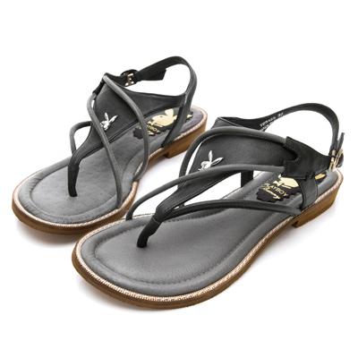 PLAYBOY波西甜心 雙色拼接平底夾腳涼鞋-黑