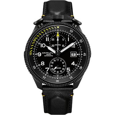 Hamilton KHAKI AVIATION 限量飛行員機械腕錶-黑/46mm