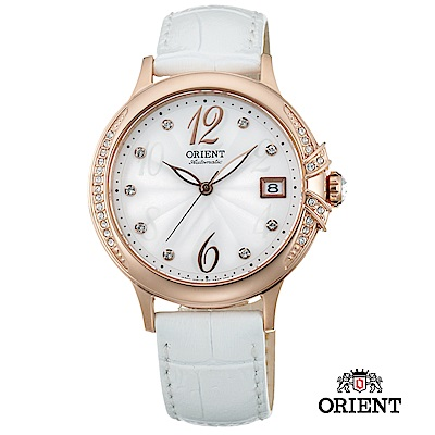 ORIENT 東方錶 ELEGANT系列 璀璨之星機械腕錶 皮帶款 白色-38mm