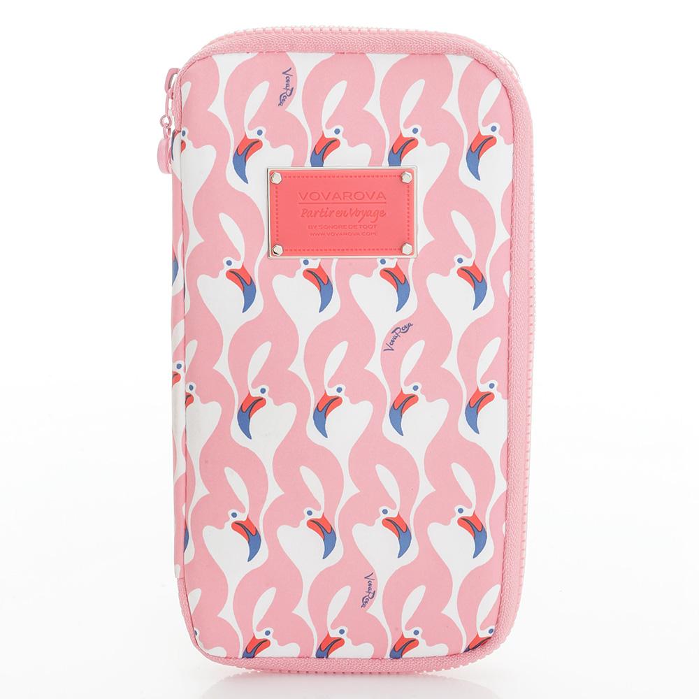 VOVAROVA空氣包-環遊世界護照夾-粉粉紅鶴