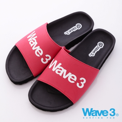 WAVE3【男】台灣製 男印刷LOGO運動休閒拖-黑紅