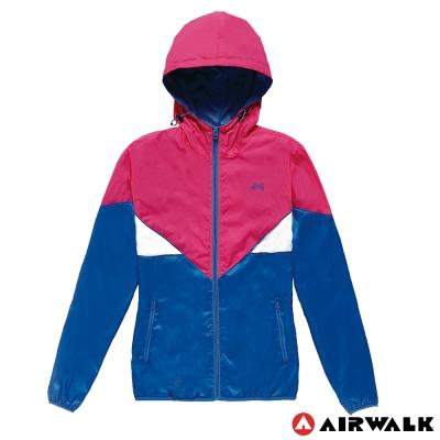 AIRWALK-女-連帽撞色風衣外套-寶藍